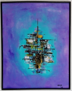 """Ghostship I"", acrylic on professional guardi artistico paper, 51 x 65 x 2.0 cm (framed), Herdecke, Germany, 2012"