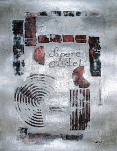 """Sapere aude!"" acrylic on paper, 50 x 64 cm (25.2 H x 19.7 W inches), Herdecke, Germany, 2012"