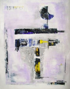 """Signs on white-purple ground"", acrylic, marble dust on paper, 50 x 64 cm (25.2 H x 19.7 W inches), Herdecke, Germany, 2012"