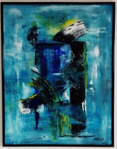 """Tamed Blue"", acrylic, pigments on professional guardi artistico paper, 51 x 65 x 2.0 cm (framed), Herdecke, Germany, 2012"